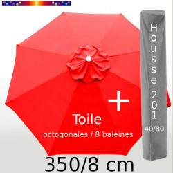 Pack : Toile 350/8 Rouge Coquelicot + Housse 201x40/80