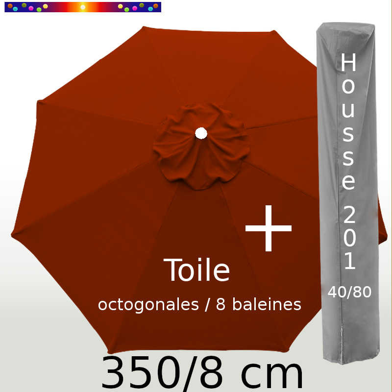 Pack : Toile 350/8 Rouge Terracotta + Housse 201x40/80