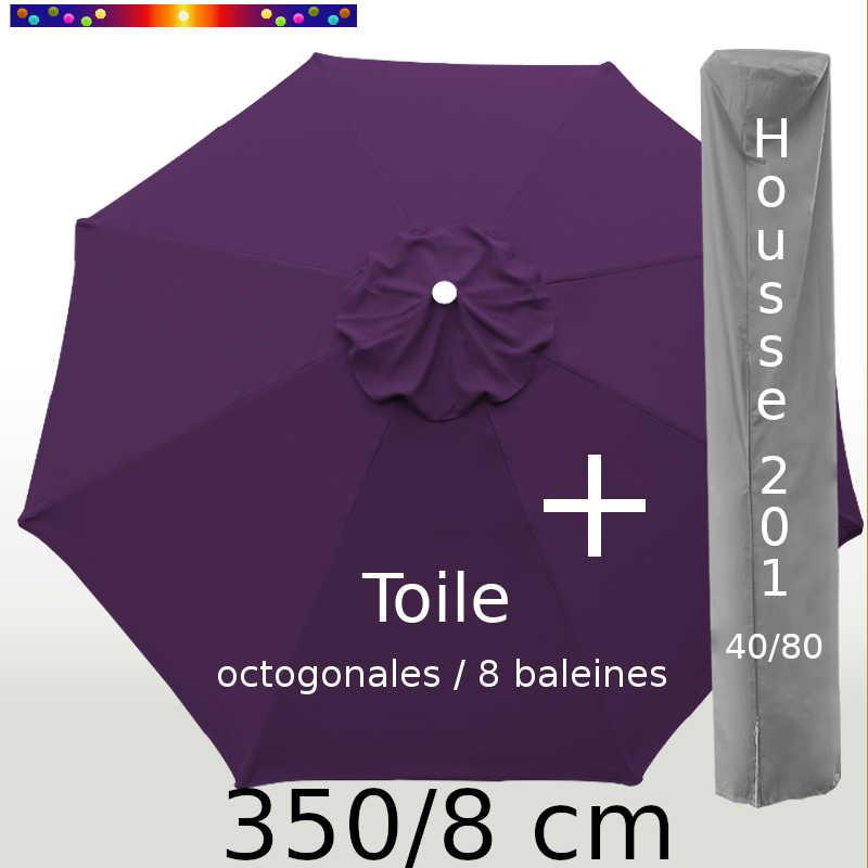 Pack : Toile 350/8 Aubergine + Housse 201x40/80