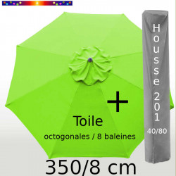 Pack : Toile 350/8 Vert Lime + Housse 201x40/80