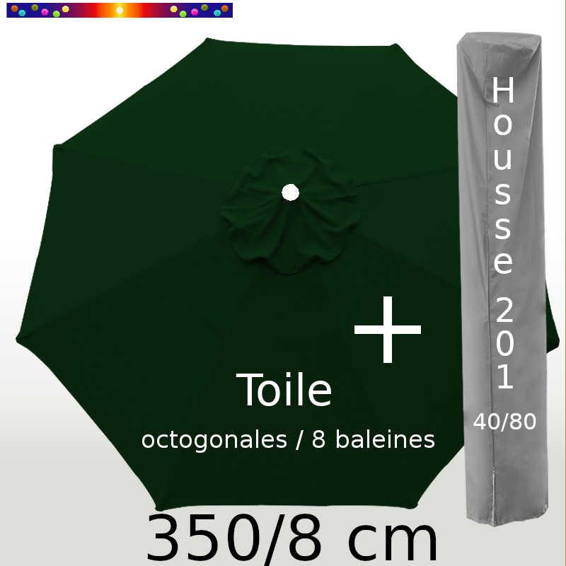 Pack : Toile 350/8 Vert Pinède + Housse 201x40/80