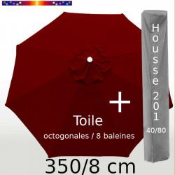Pack : Toile 350/8 Rouge Bordeaux + Housse 201x40/80