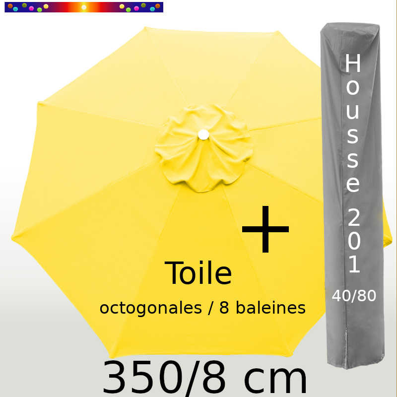 Pack : Toile 350/8 Jaune Bouton d'Or + Housse 201x40/80