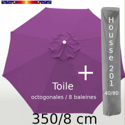 Pack : Toile 350/8 Violette + Housse 201x40/80