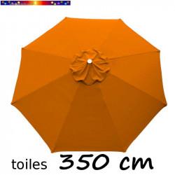 Toile de remplacement pour parasol 350 cm Orange Capucine vue de dessus