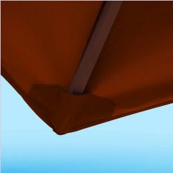 Toile de remplacement 350 cm Rouge Terracotta : détail du fourreau de fixation en bout de baleine