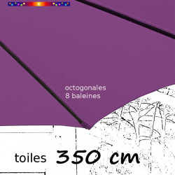 Toile de remplacement pour parasol 350 cm Violette : toile coté baleine