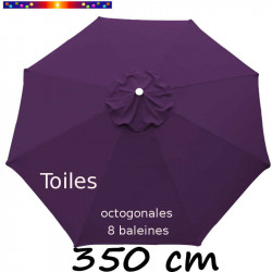 Toile de remplacement pour parasol 350/8 cm octogonal à mât central couleur Aubergine