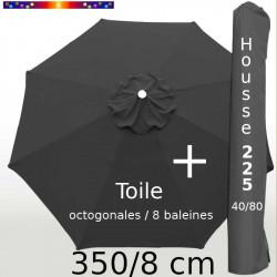 Pack : Toile 350/8 Gris Souris + Housse 225x40/80