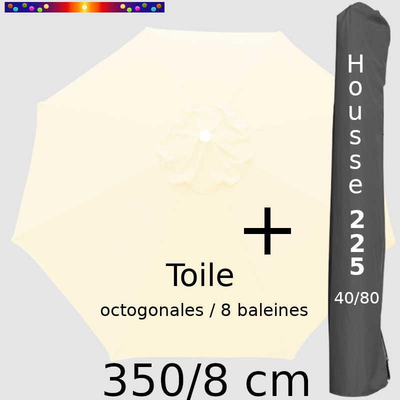 Pack : Toile 350/8 Ecru Crème + Housse 225x40/80