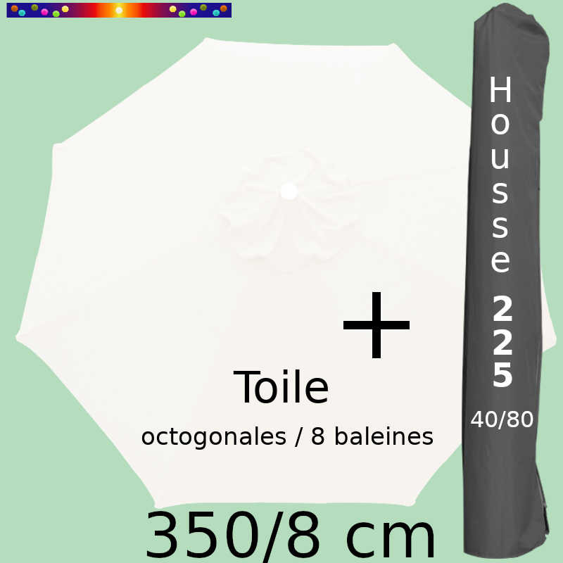 Pack : Toile 350/8 Blanc Jasmin + Housse 225x40/80