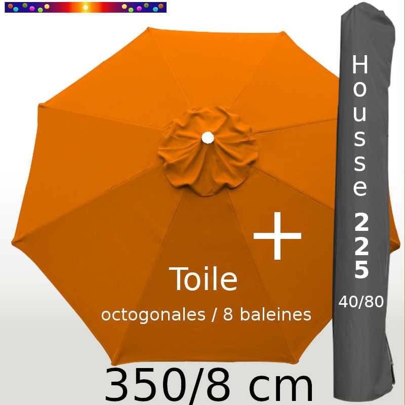 Pack : Toile 350/8 Orange Capucine + Housse 225x40/80