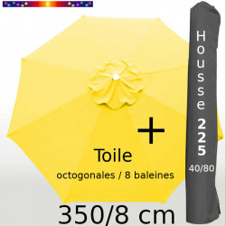 Pack : Toile 350/8 Jaune Bouton d'Or + Housse 225x40/80