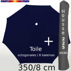 Pack : Toile 350/8 Bleu Marine + Housse 225x40/80
