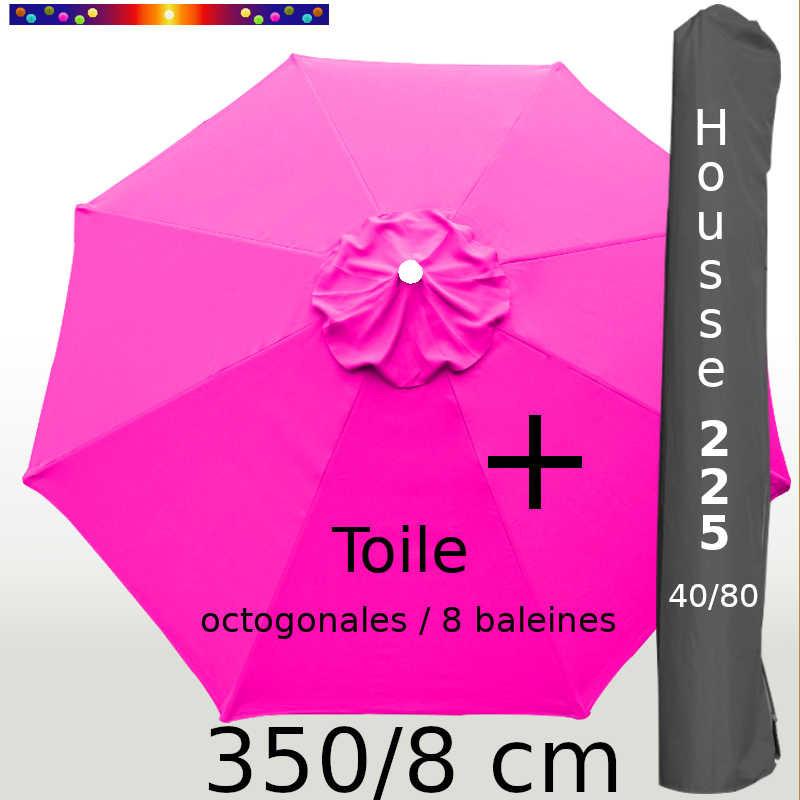 Pack : Toile 350/8 Rose Fushia + Housse 225x40/80