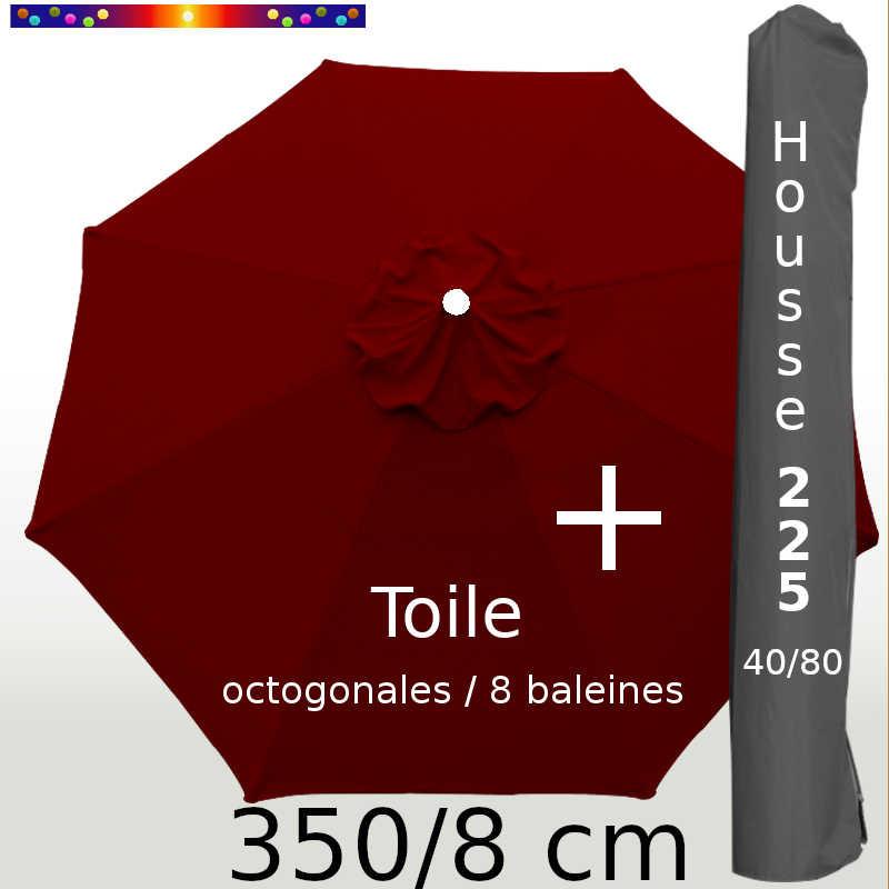 Pack : Toile 350/8 Rouge Bordeaux + Housse 225x40/80