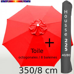Pack : Toile 350/8 Rouge Coquelicot + Housse 225x40/80