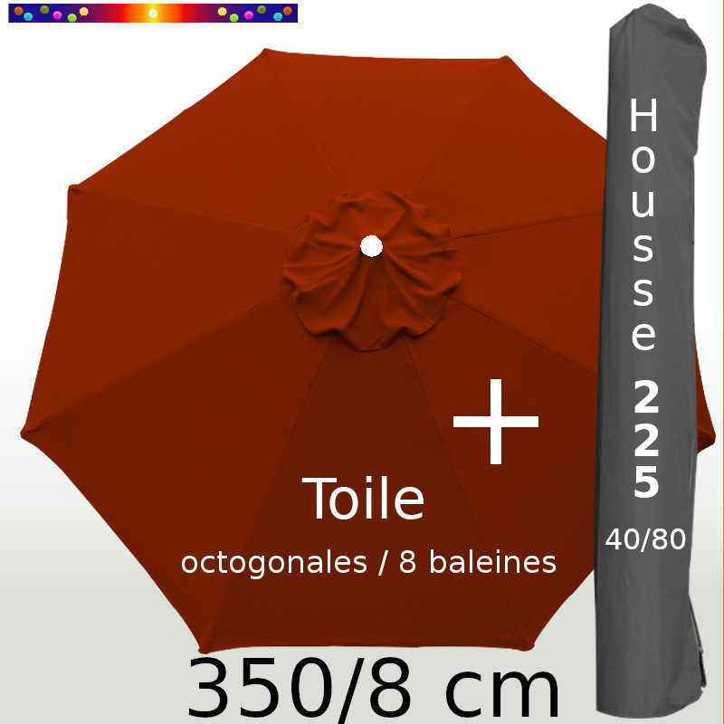 Pack : Toile 350/8 Terracotta + Housse 225x40/80