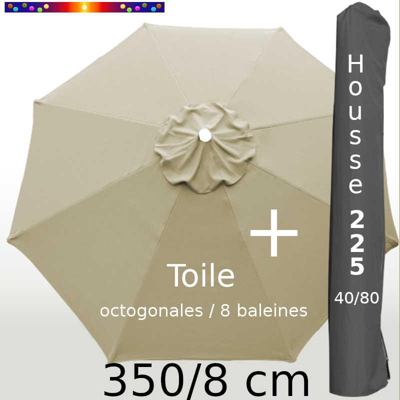 Pack : Toile 350/8 Soie Grège + Housse 225x40/80