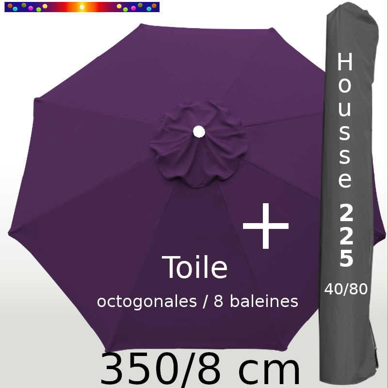 Pack : Toile 350/8 Aubergine + Housse 225x40/80