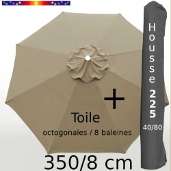 Pack : Toile 350/8 Taupe + Housse 225x40/80