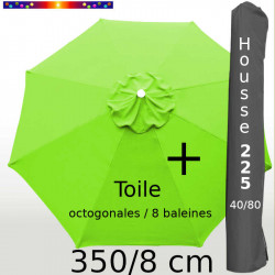 Pack : Toile 350/8 Vert Lime + Housse 225x40/80