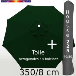 Pack : Toile 350/8 Vert Pinède + Housse 225x40/80
