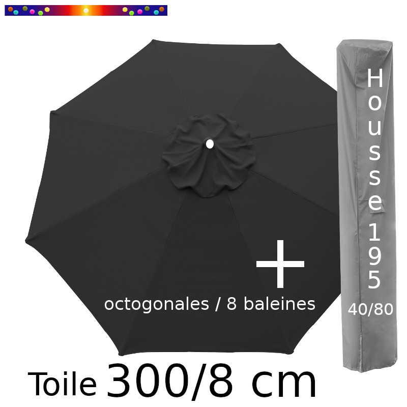 Pack : Toile 300/8 Gris Souris + Housse 195x40/80