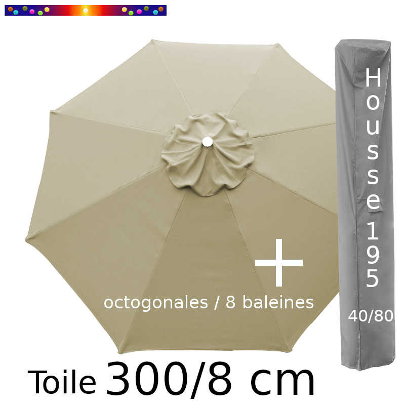 Pack : Toile 300/8 Soie Grège + Housse 195x40/80