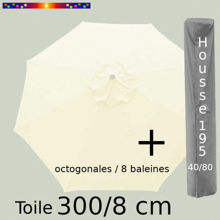 Pack : Toile 300/8 Ecru Crème+ Housse 195x40/80