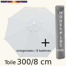 Pack : Toile 300/8 Blanc Jasmin + Housse 195x40/80