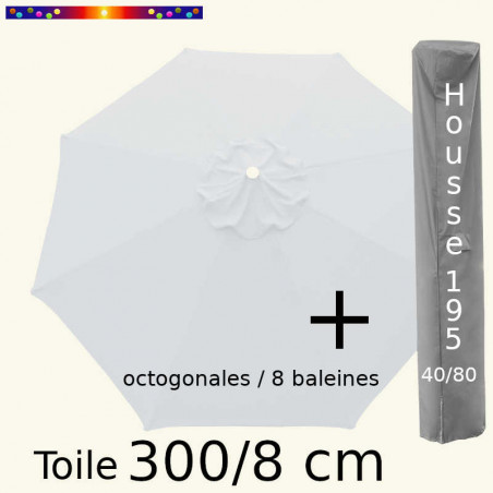 Pack : Toile 300/8 Blanc Jasmin + Housse 195x40/80