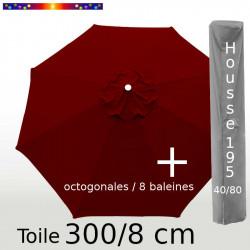 Pack : Toile 300/8 Rouge Bordeaux + Housse 195x40/80