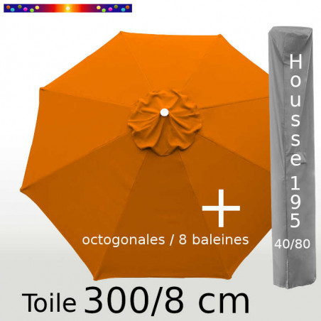 Pack : Toile 300/8 Orange Capucine + Housse 195x40/80