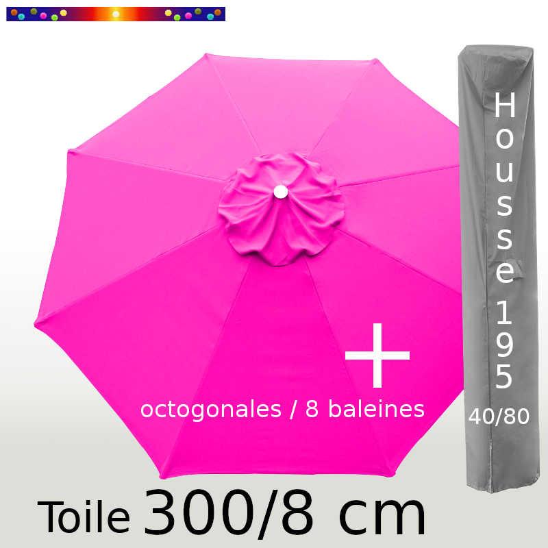 Pack : Toile 300/8 Rose Fushia + Housse 195x40/80