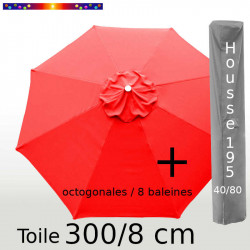 Pack : Toile 300/8 Rouge Coquelicot + Housse 195x40/80