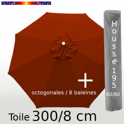 Pack : Toile 300/8 Terracotta + Housse 195x40/80