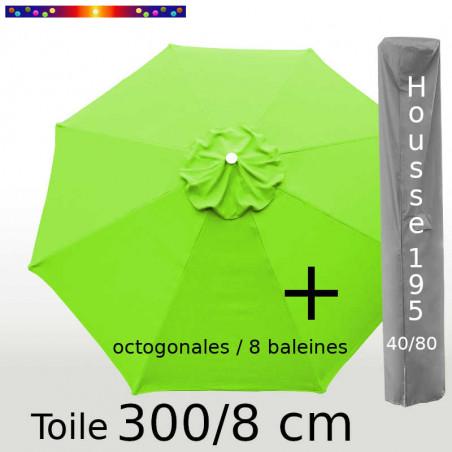 Pack : Toile 300/8 Vert Lemon + Housse 195x40/80