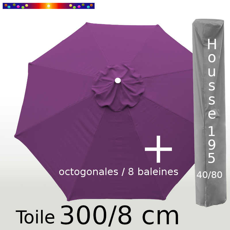 Pack : Toile 300/8 Violette + Housse 195x40/80