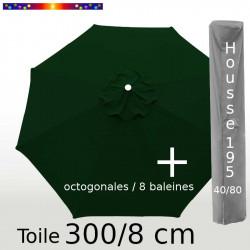 Pack : Toile 300/8 Vert Pinède + Housse 195x40/80