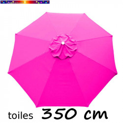 Toile de remplacement pour parasol 350 cm Rose Fushia vue de dessus
