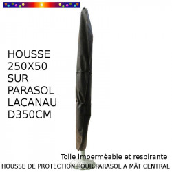 Housse pour parasol 250 cm x Largeur 50 cm : vue sur parasol Lacanau bois diamètre 350 cm