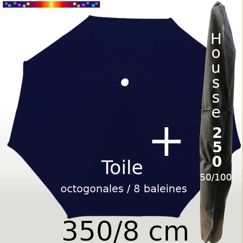 Pack : Toile 350/8 Bleu Marine + Housse 250x50/100