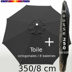 Pack : Toile 350/8 Gris Souris + Housse 250x50/100