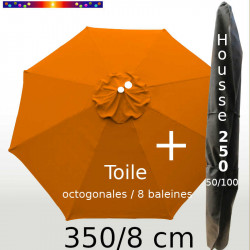 Pack : Toile 350/8 Orange Capucine + Housse 250x50/100