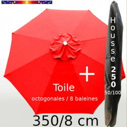 Pack : Toile 350/8 Rouge Coquelicot + Housse 250x50/100