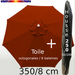 Pack : Toile 350/8 Rouge Terracotta + Housse 250x50/100