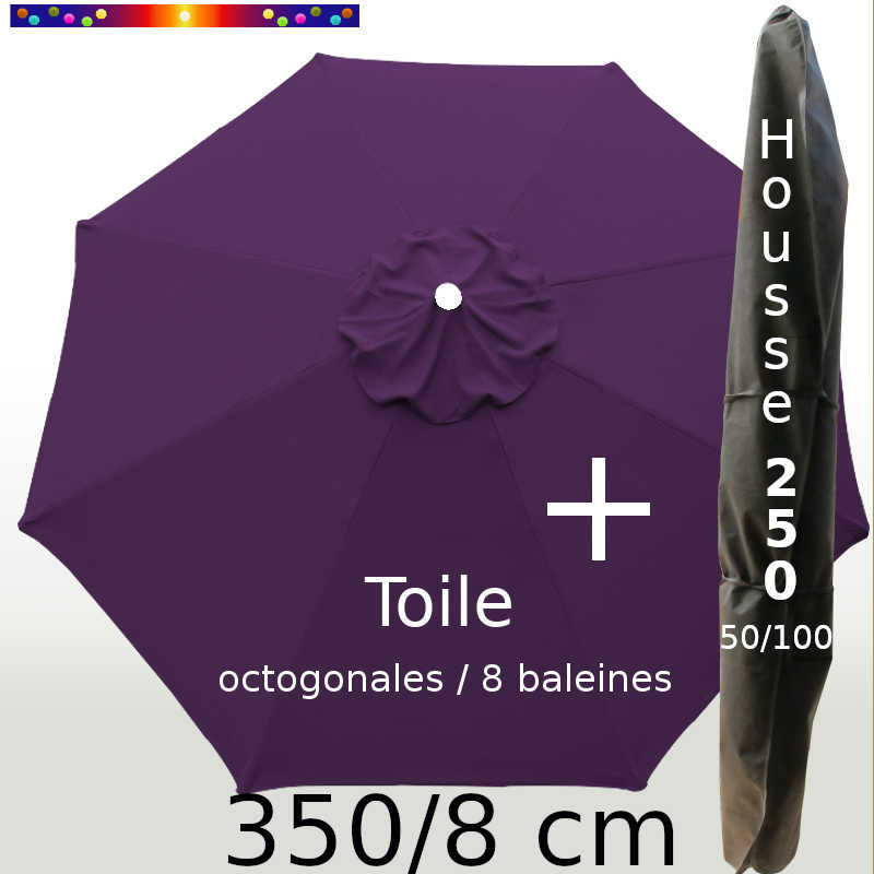 Pack : Toile 350/8 Aubergine + Housse 250x50/100