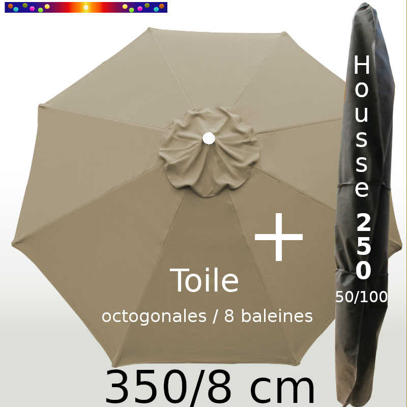 Pack : Toile 350/8 Taupe + Housse 250x50/100
