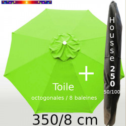 Pack : Toile 350/8 Vert Lime + Housse 250x50/100